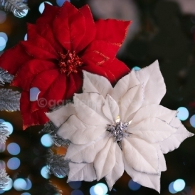 24cm White Or Red Fabric Poinsettia Christmas Decoration