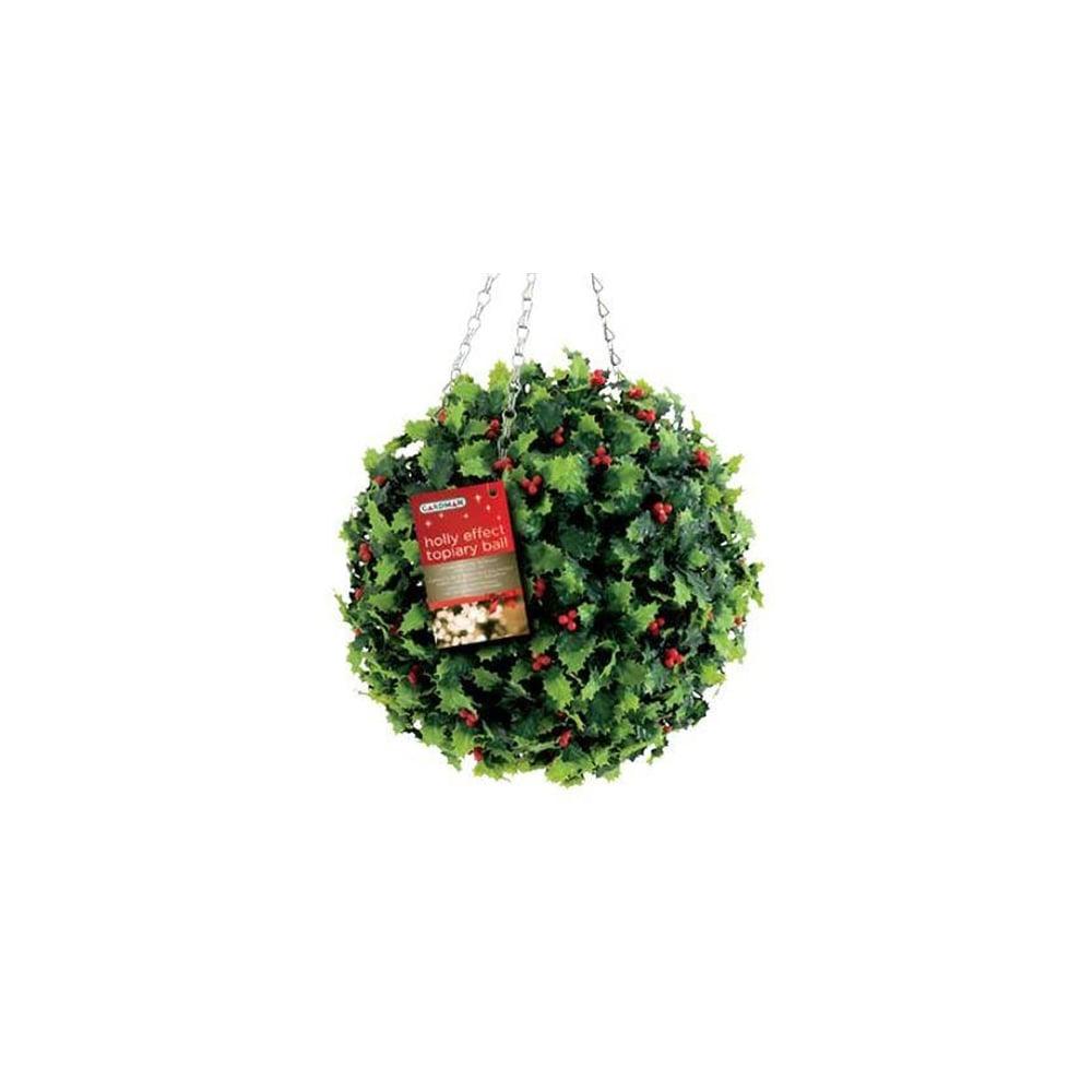 Christmas Topiary.30cm Gardman Artificial Christmas Topiary Ball Holly Effect Chain 02820xs