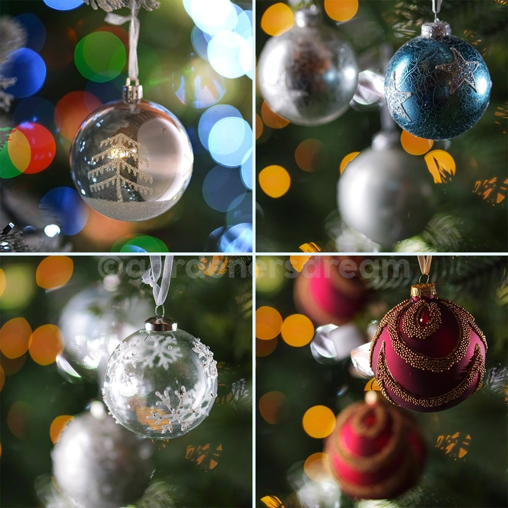low priced b55f9 b06c1 Gardenersdream 12 x 8cm Christmas Tree Baubles In Various Colours