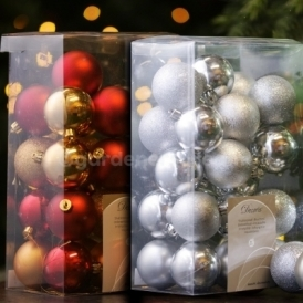 Gardenersdream 30 x 60mm Christmas Tree Baubles In Various Colours
