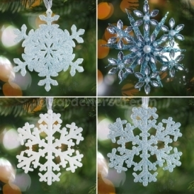 Gardenersdream Assorted Snow Flakes With Hangers For Christmas Trees