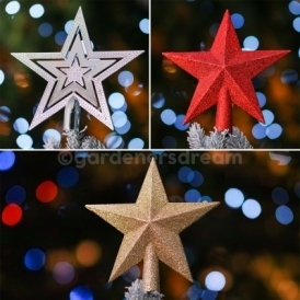 Shiney Christmas Tree Star Topper In Various Colours