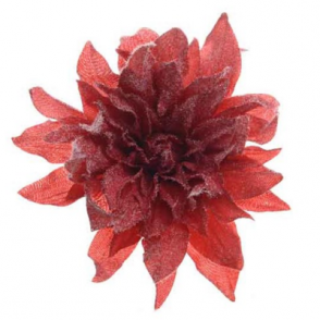 Silk Dahlia w/ Snowfin on Clip 20cm (Red)