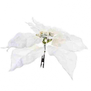 Silk Poinsettia on Clip 24cm (White)
