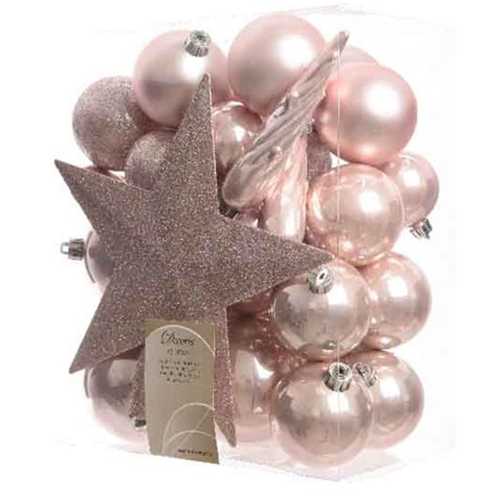 Star topper baubles blush pink seasonal from - Blush pink christmas decorations ...